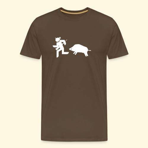 Männer Premium T-Shirt - Man darf sich selbst nicht zu ernst nehmen - der annehmende Keiler ist allerdings kein Spaß. Damit Jäger auch weiss wo es langgeht... Selbstironisch zum selbst Beschenken oder als Geschenk für einen Jäger - hier gibt es unser Fluchtshirt! :-)