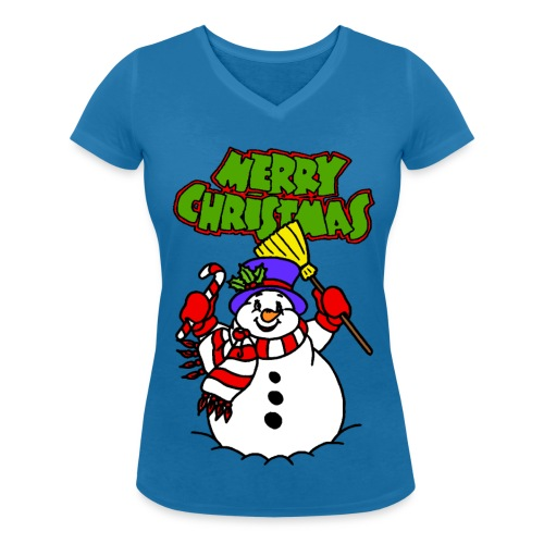 T shirt femme merry christmas - T-shirt bio col V Stanley & Stella Femme