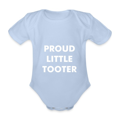 Proud Little Tooter babygrow (baby blue) - Organic Short-sleeved Baby Bodysuit