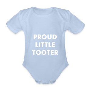 Proud Little Tooter babygrow (pink) - Organic Short-sleeved Baby Bodysuit