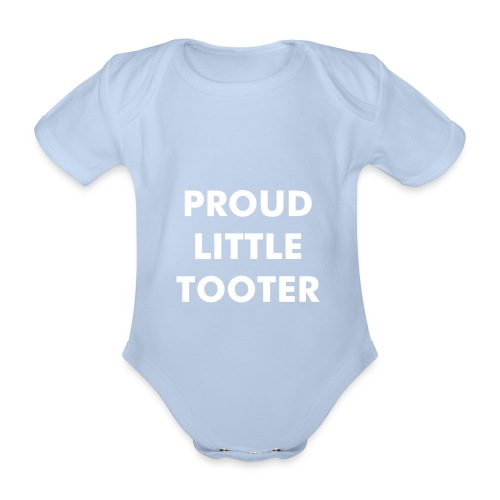 Proud Little Tooter babygrow (red) - Organic Short-sleeved Baby Bodysuit