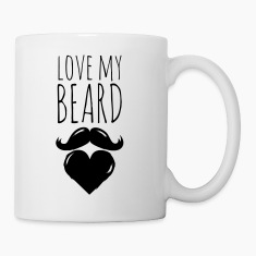 funny love my crazy hipster cool beard moustache Bottles & Mugs