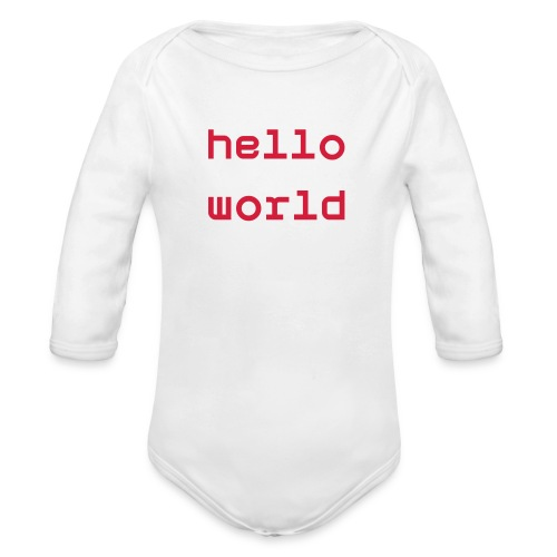 'Hello world' - Long-sleeve Baby onesie - Organic Longsleeve Baby Bodysuit