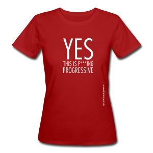 DANTE YES -big print T-Shirt women in red - Frauen Bio-T-Shirt