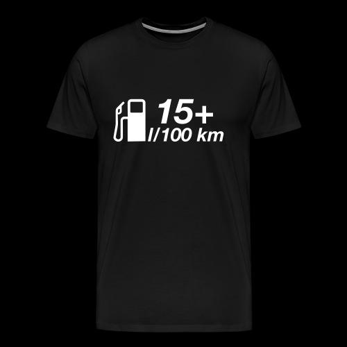 15+ l/100 km - weißer Druck - Männer Premium T-Shirt