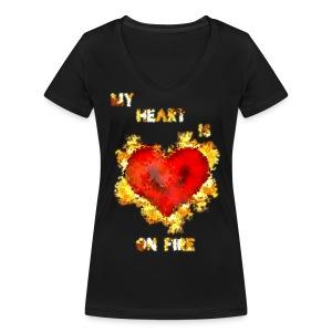 My Heart - Stanley & Stellan naisten v-aukkoinen luomu-T-paita