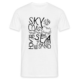 Men's Coastal Illustration White Tee - Men's T-Shirt