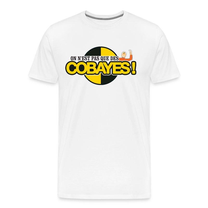 T-Shirt Blanc qualité Homme Logo Cobayes James - T-shirt Premium Homme