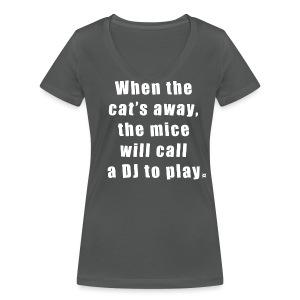 Cat basic TS Woman White EN - Women's Organic V-Neck T-Shirt by Stanley & Stella