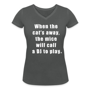 Cat basic TS Woman White EN - Women's V-Neck T-Shirt