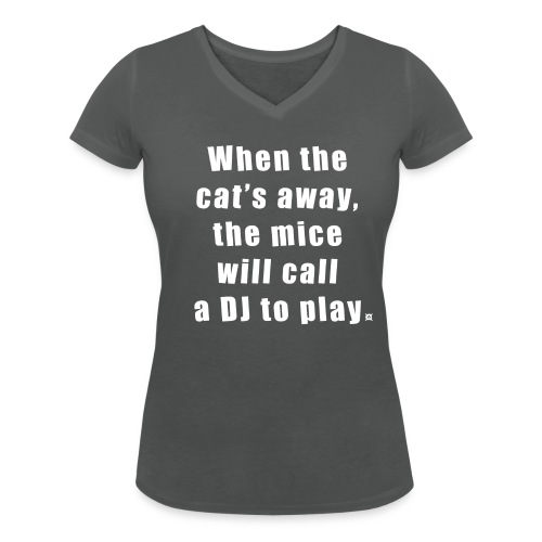 Cat basic TS Woman White EN - Women's Organic V-Neck T-Shirt by Stanley & Stella