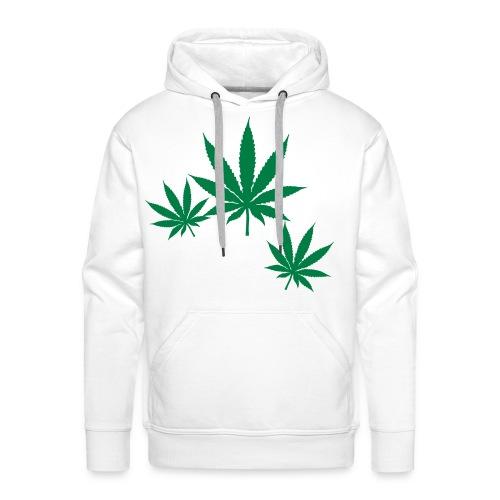 Sweat-shirt à capuche Premium pour hommes - vert,cannabis,blanc