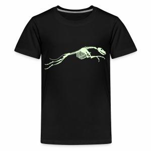 Juokse, Luuranko!  - pimeässä hohtava - Teinien premium t-paita