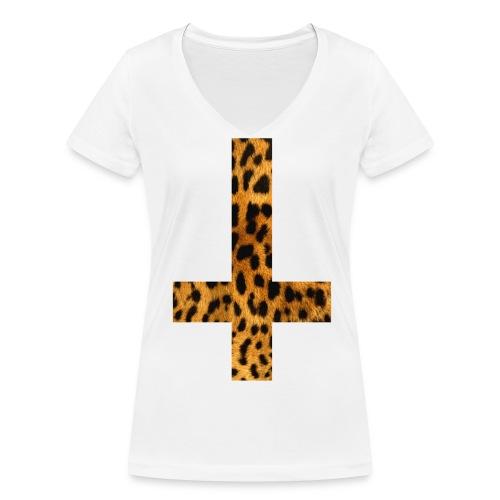 Leopard Cross Ladies Tee - Ekologisk T-shirt med V-ringning dam från Stanley & Stella