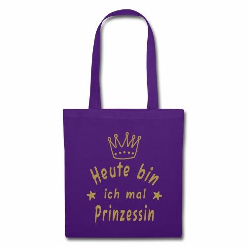 Heute mal Prinzessin, Stoffbeutel, Tasche, Glitzer, Mädchen, geschenk, Weihnachten, Geburtstag, Krone - Stoffbeutel