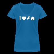 T-Shirts ~ Women's V-Neck T-Shirt ~ I love electro house basic TS W Woman