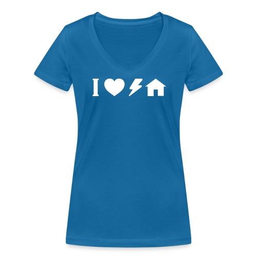 I love electro house basic TS W Woman - Women's Organic V-Neck T-Shirt by Stanley & Stella