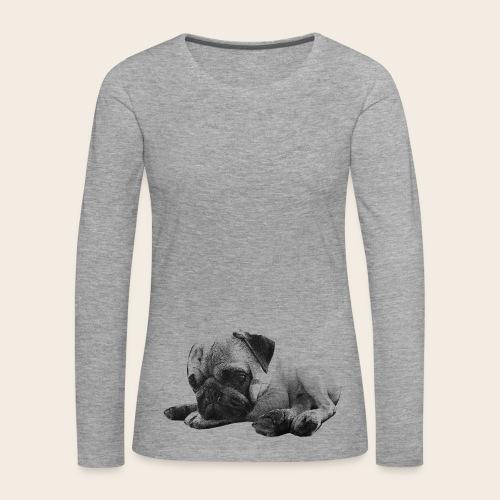 Mops liegt - Langarmshirt - Frauen Premium Langarmshirt