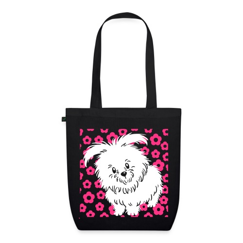 White Dog and Flower - EarthPositive Tote Bag