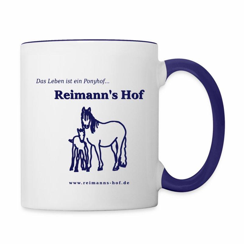 Tasse 'Reimann's Hof' - Stute mit Fohlen -  - Tasse zweifarbig