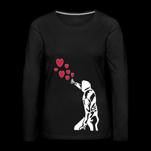 Langarmshirt , Frauenshirt mit Sprayer und Herzen - Frauen Premium Langarmshirt