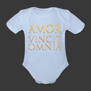 AMOR VINCIT OMNIA - Organic Short-sleeved Baby Bodysuit