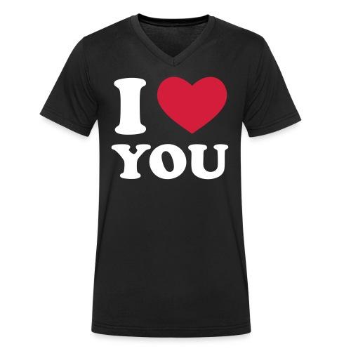I Love You  - Økologisk Stanley & Stella T-shirt med V-udskæring til herrer