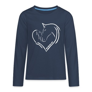 MPS Heart - Teenager Langarmshirt White on Blue - Teenager Premium Langarmshirt