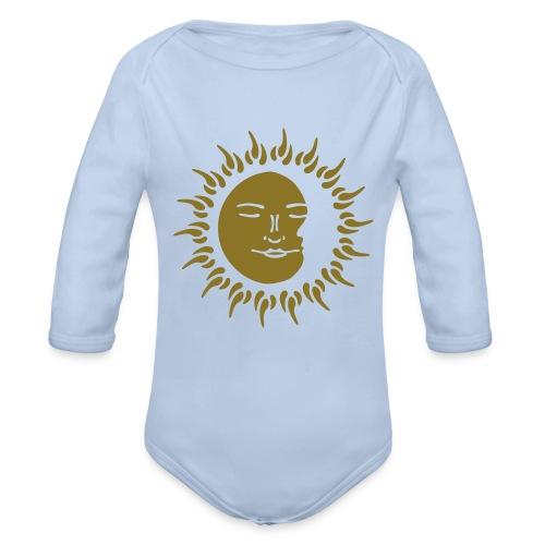 Babys Premium Gold Print Sleeping Sun - Organic Longsleeve Baby Bodysuit