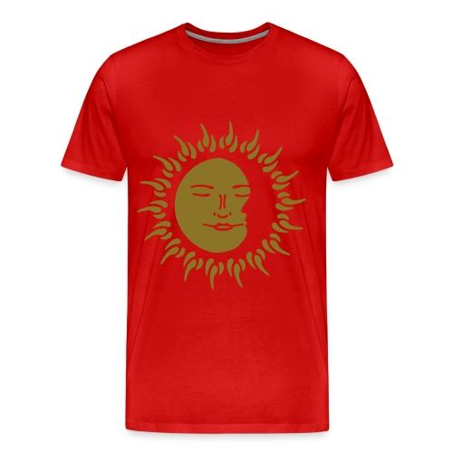 Mens Premium Gold Print Sleeping Sun - Men's Premium T-Shirt