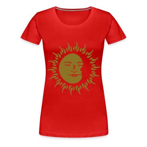 Women's Premium Gold Print Sleeping Sun - Women's Premium T-Shirt