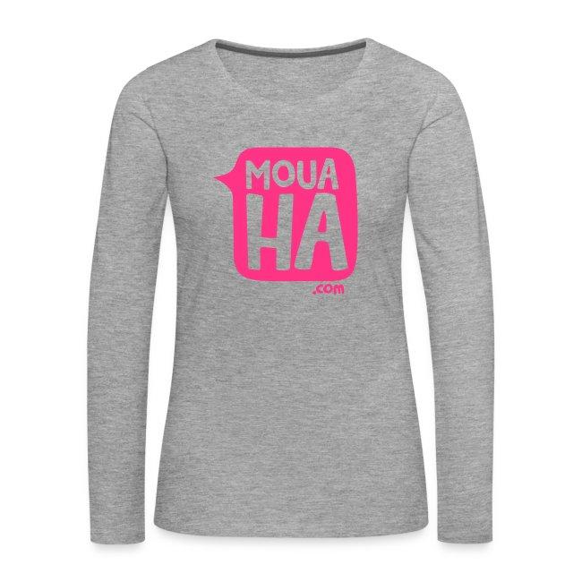 632bfc8acf1 MOUAHA Femme t-shirt manches longues gris chiné   rose fluo