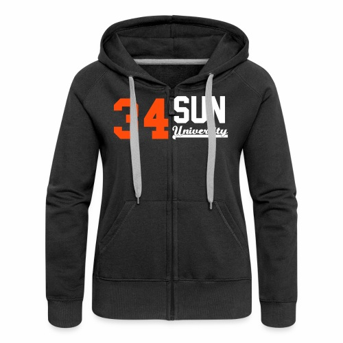 Sweat zippé femme 34 Sun University Black Orange White - Veste à capuche Premium Femme