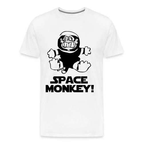 Space monkey White/black - Herre premium T-shirt