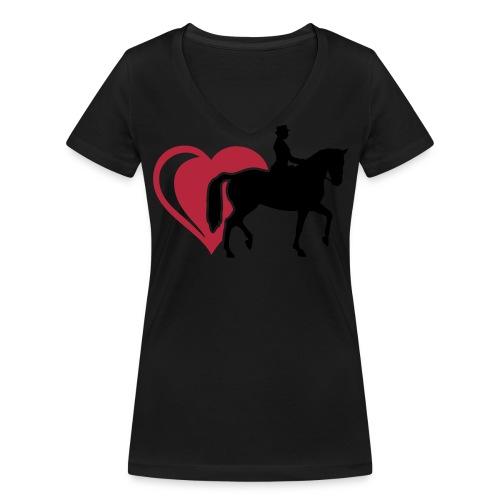 Damen T-Shirt mit V-Ausschnitt, Dressurreiter & Herz - Frauen Bio-T-Shirt mit V-Ausschnitt von Stanley & Stella