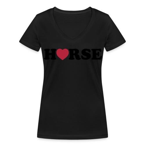 Damen T-Shirt mit V-Ausschnitt und HORSE-Logo - Frauen Bio-T-Shirt mit V-Ausschnitt von Stanley & Stella