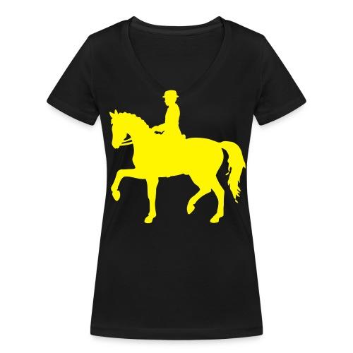 Damen T-Shirt mit V-Ausschnittund Dressurreiter-Logo - Frauen Bio-T-Shirt mit V-Ausschnitt von Stanley & Stella