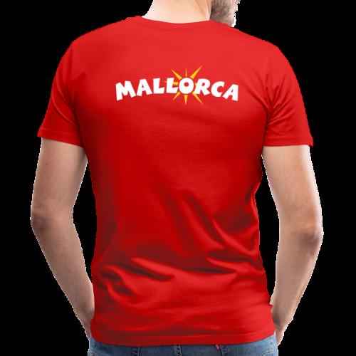 Mallorca Sonne T-Shirt (Herren Rot) Rücken - Männer Premium T-Shirt