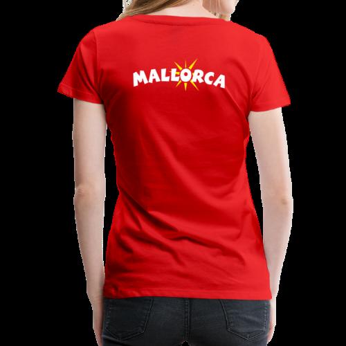 Mallorca Sonne T-Shirt (Damen Rot) Rücken - Frauen Premium T-Shirt