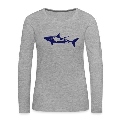 taucher hai tauchen scuba diving diver shark T-Shirts - Frauen Premium Langarmshirt