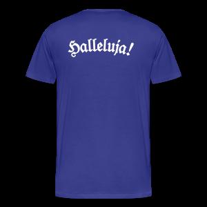 Halleluja T-Shirt (Herren Blau) Rücken - Männer Premium T-Shirt