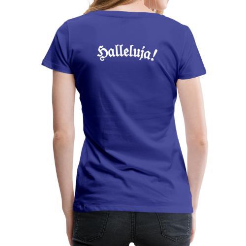 Halleluja T-Shirt (Damen Blau) Rücken - Frauen Premium T-Shirt