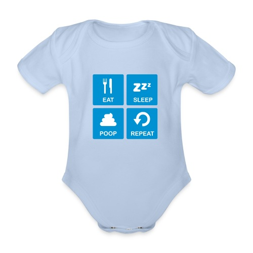 Eat Sleep Poop Repeat - Baby bio-rompertje met korte mouwen