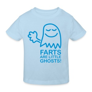 Farts are little ghosts...(with text) - Kids' Organic T-shirt