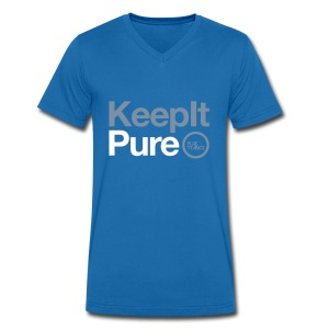 Keep It Pure Silver Metallic /White [Male] - Men's V-Neck T-Shirt
