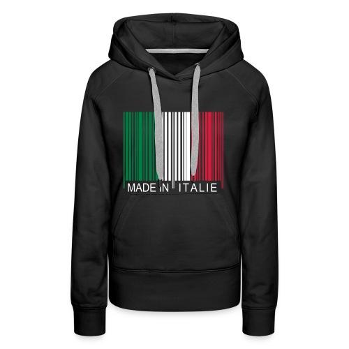 Code barre Made in ITALIE - Sweat-shirt à capuche Premium pour femmes