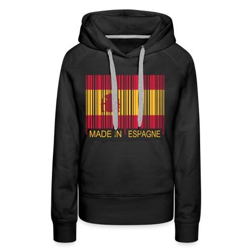 Code Barre Made in ESPAGNE - Sweat-shirt à capuche Premium pour femmes