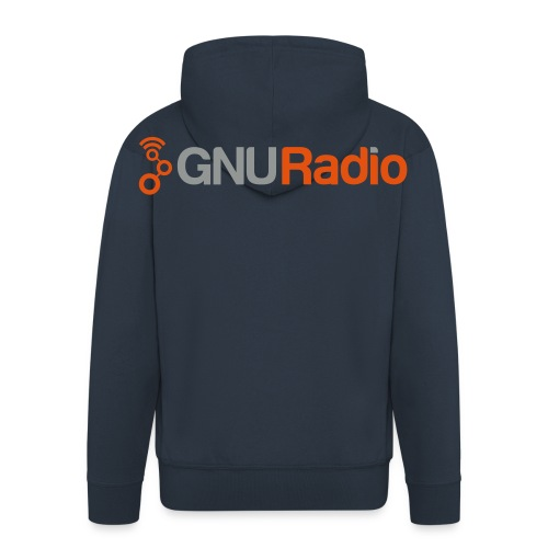 The GNU Radio Zipper Hoodie (Blue, Flock) - Männer Premium Kapuzenjacke