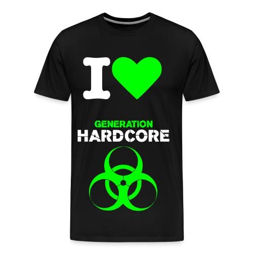 I Love Generation Hardcore Neon-Green - Männer Premium T-Shirt
