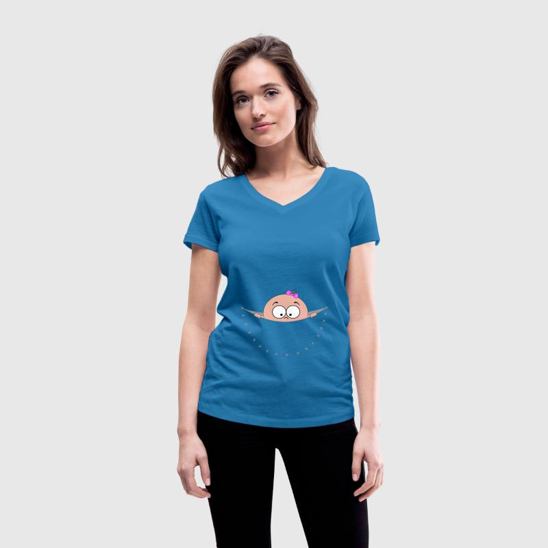 pregnant pregnancy baby bag pouch belly looking T-Shirts - Women's V-Neck T-Shirt